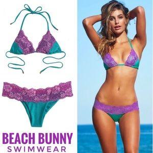 Beach Bunny Lady Lace Bikini Top Purple Teal